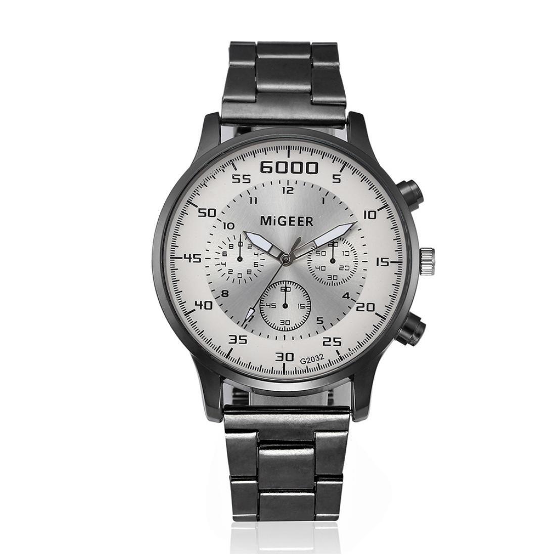 Amazon.com: Auwer Watch, Mens Watches, Fashion Men Crystal Stainless Steel Analog Quartz Wrist Watch Bracelet (White): Watches