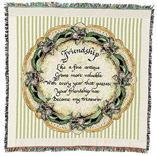 Pure Country Weavers - Friendship Gift for Friend Woven Throw Blanket with Fringe Cotton. USA Size 54x54