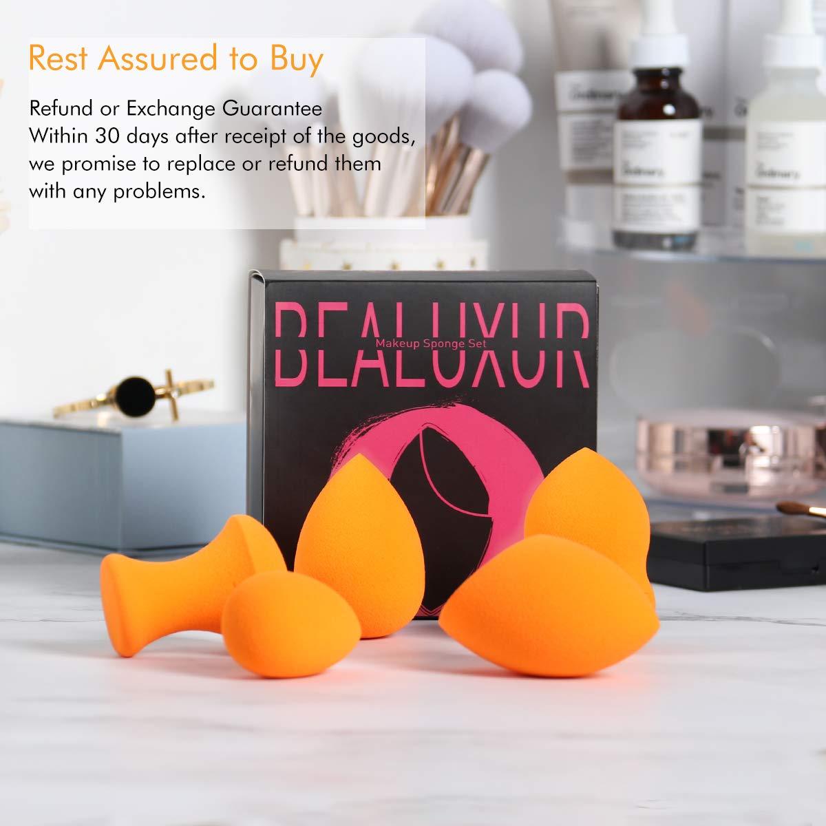 Makeup Sponge,Bealuxur Beauty Blender Sponge Foundation Sponge MakeUp Set With Foam Technology Multi Shape Beauty Sponges (5 Pcs)