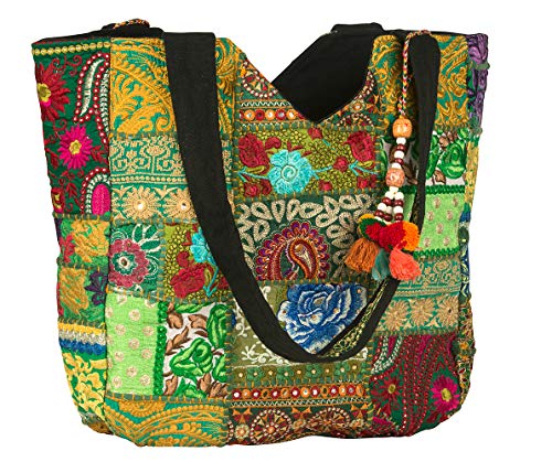 - Women Large Shoulder Bag Tote Woven Embroidered Beach Fashion Boho Hippie Unique Laptop School Everyday Casual (Green)
