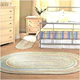 3' x 5' Tropical Shabby Braided Reversible Area Rug, Featuring Whimsical Tribal Colorful Hue Patterned, Oval Kids Room Bedroom Living Room Carpet, Bright Abstract Braids Modern Country Style, Yellow