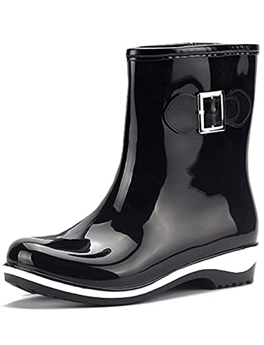 8b373b6f48148 Image Unavailable. Image not available for. Color  SYJO Women s Waterproof  Low Heels Short Rubber Boots Rain Wellies Wellington Shoes