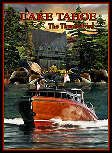 New Visions Art Mall 14x20 Print 5220 the Thunderbird Boat and Lodge By Paul -
