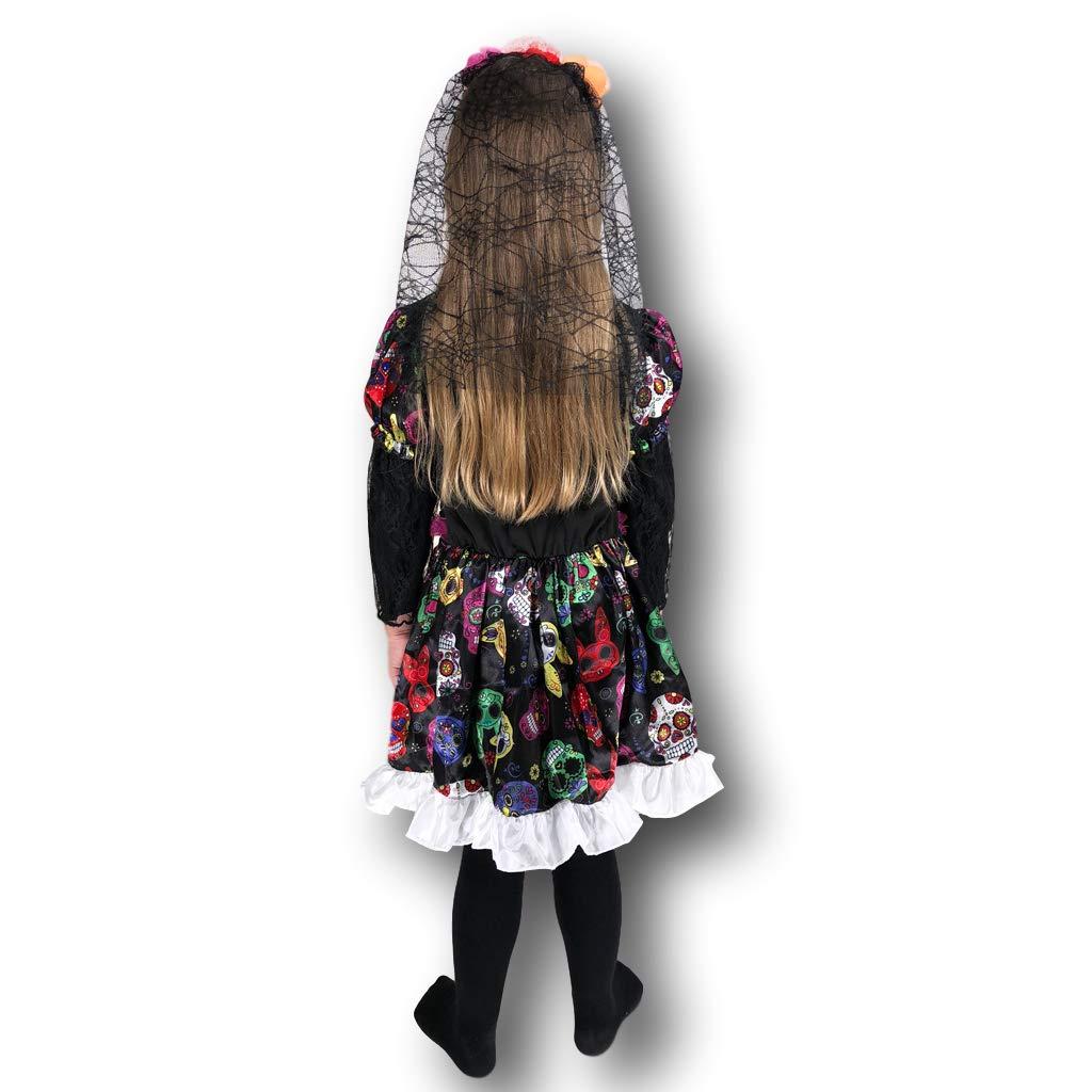 Rubber Johnnies DÍA DE LA Muerta Disfraz de Novia Esqueleto, gomitas de Goma, niños, 7-9 ANS