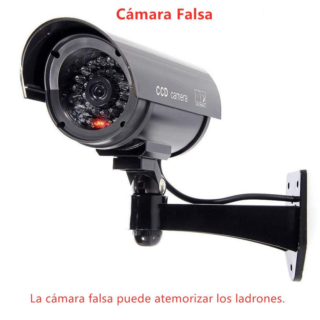 Cámara Falsa Cámara de Seguridad de simulación para Exteriores o Interiores con Luces Intermitentes, Negro