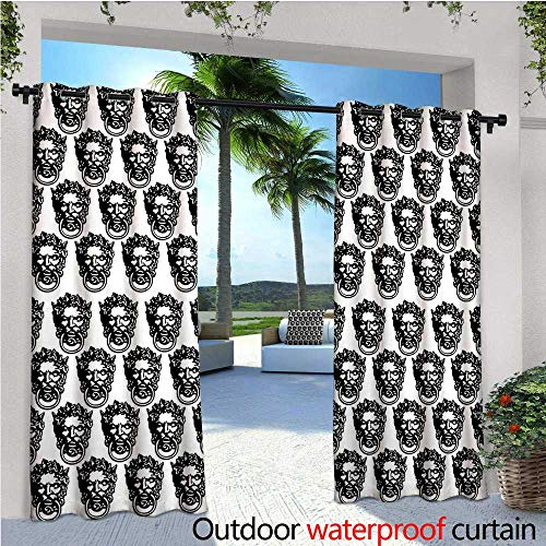 Black and White Outdoor Privacy Curtain for Pergola Monochrome Medieval Knocker Old Antique Figure Head Cartouche Gothic Theme Thermal Insulated Water Repellent Drape for Balcony W120