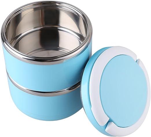 Tartera Nixioo® de acero inoxidable, azul, recipiente para comida, caja para comida, tartera, Bentobox, fiambrera, caja isotérmica, tartera: Amazon.es: Hogar