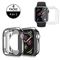Funda Apple Watch 44mm Series 4, Protector de iWatch 4 Estuche Protectora de Parachoques de TPU Carcasa a Prueba de Choques para Apple Watch Series 4 (44mm), Nike +, Hermes (Negro)
