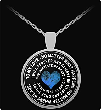 Amazon girlfriend necklace to my love inspirational round girlfriend necklace to my love inspirational round pendant charm for wife aloadofball Choice Image