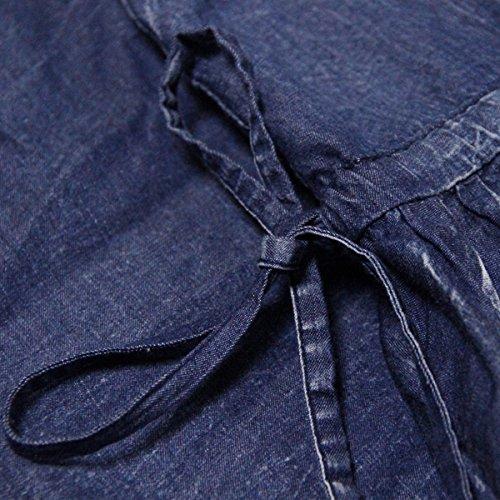 Denim Maxi E Blau Linie Kleider A Ohne girl Arm Kleid LHA82077 Partykleid Damen 8qH80