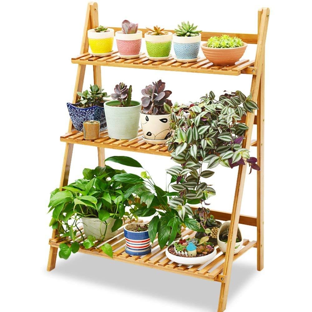 WI Flower Stand-Flower Rack Foldable Solid Wood Floorstanding Multilayer Flower Pot Rack Balcony Indoor Green Plants Bonsai Frame by WI