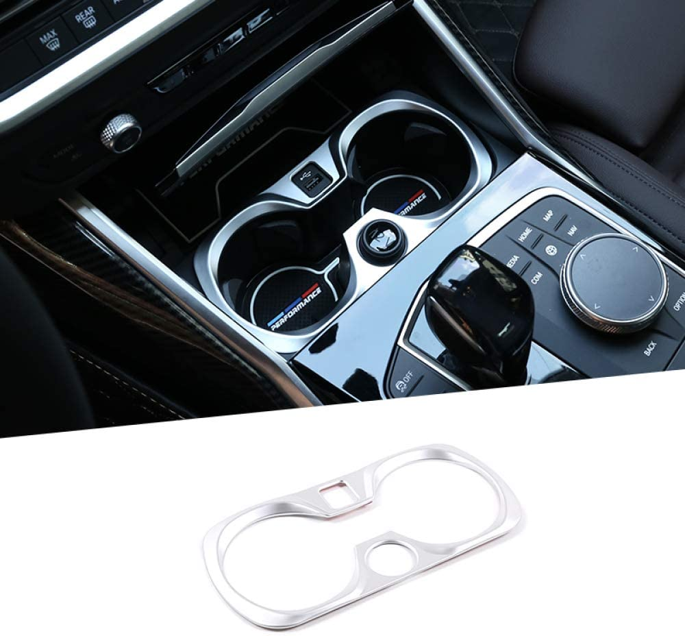 ABS Chrome Car Center Cup Holder Decoration Frame Trim Accessories JIERS For BMW 3 Series G20 2020