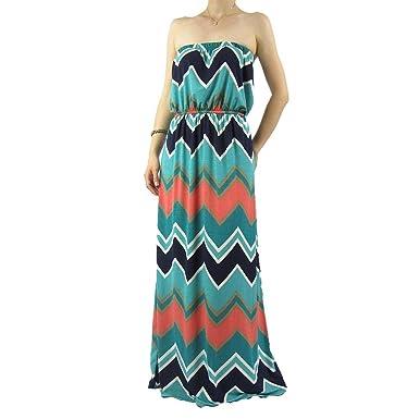 Women S Empire Waist Chevron Strapless Maxi Dress At Amazon Women S