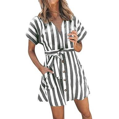 651914b45ea2 kemilove Women Casual Short Sleeve V Neck Button Stripe Dress with Belt Gray