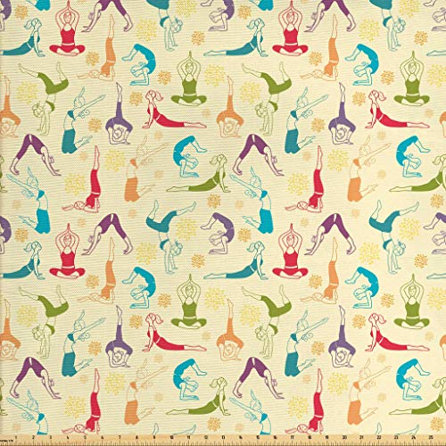 Lunarable Doodle Fabric by The Yard, Workout Fitness Girls in Different Yoga Pilates Positions Health Wellness Gymnastics, Decorative Fabric for Upholstery and Home Accents, 1 Yard, Purple