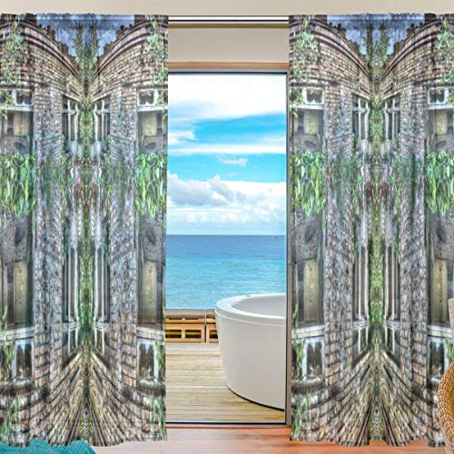 Double Joy Sheer Curtains Mansion Hut Jungle Cottage Garden for Bedroom,Tulle Voile (2 Panels,55(W) x 84(L) - Jungle Hut