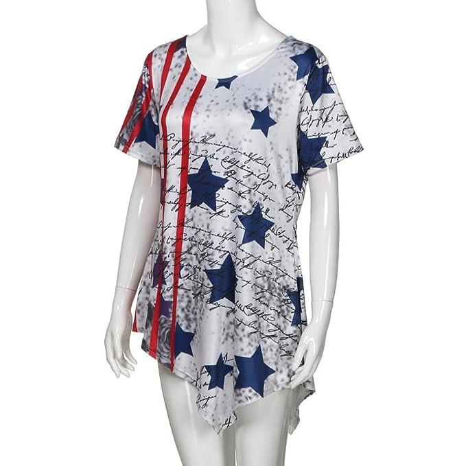 Amazon.com: DondPO Clearance Women Elegant Womens Summer Loose Short Sleeve Scoop Neck T-Shirt ❤ ❤ Sleeveless Print American Flag Tank Tops❤️ ...