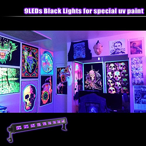 Black Light, OPPSK 27W 9LED UV Bar Glow in the Dark Party Supplies for Blacklight Party Birthday Wedding Stage Lighting by OPPSK (Image #2)