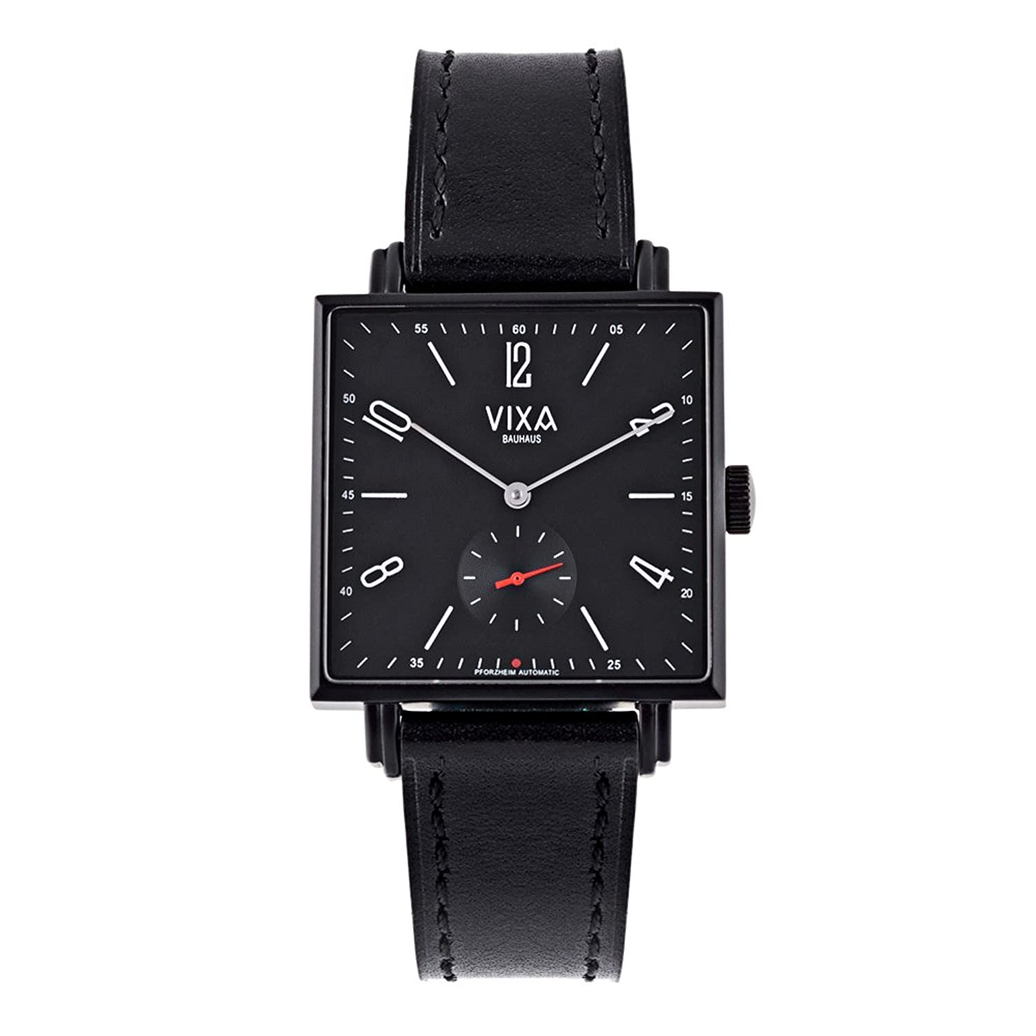 Vixa vomc7013380 Men ' s Watch Classic Square Automatic Mechanical Wrist Watch with Black Dial andレザーバンドシンプル&エレガント。 B07B6J5GTD