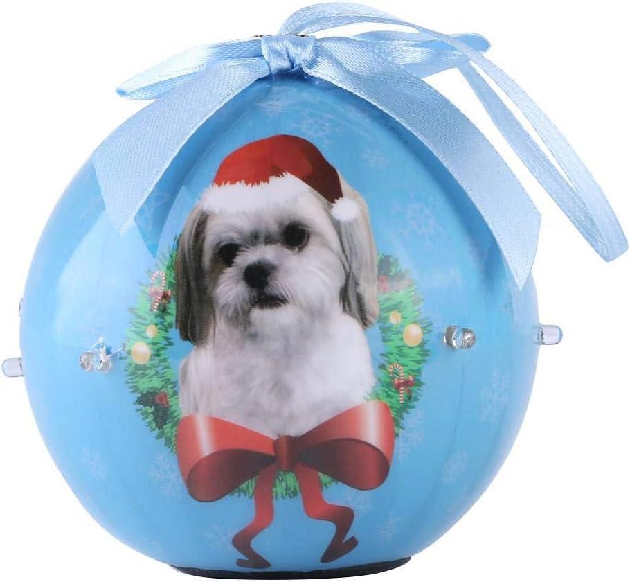 ECCRIS Dog Collection Twinkling Lights Christmas Ball Ornament Xmas Tree Decorative Drop, Shih Tzu