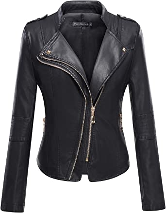 Tanming Womens Slim Zipper Color Faux Leather Jacket Red
