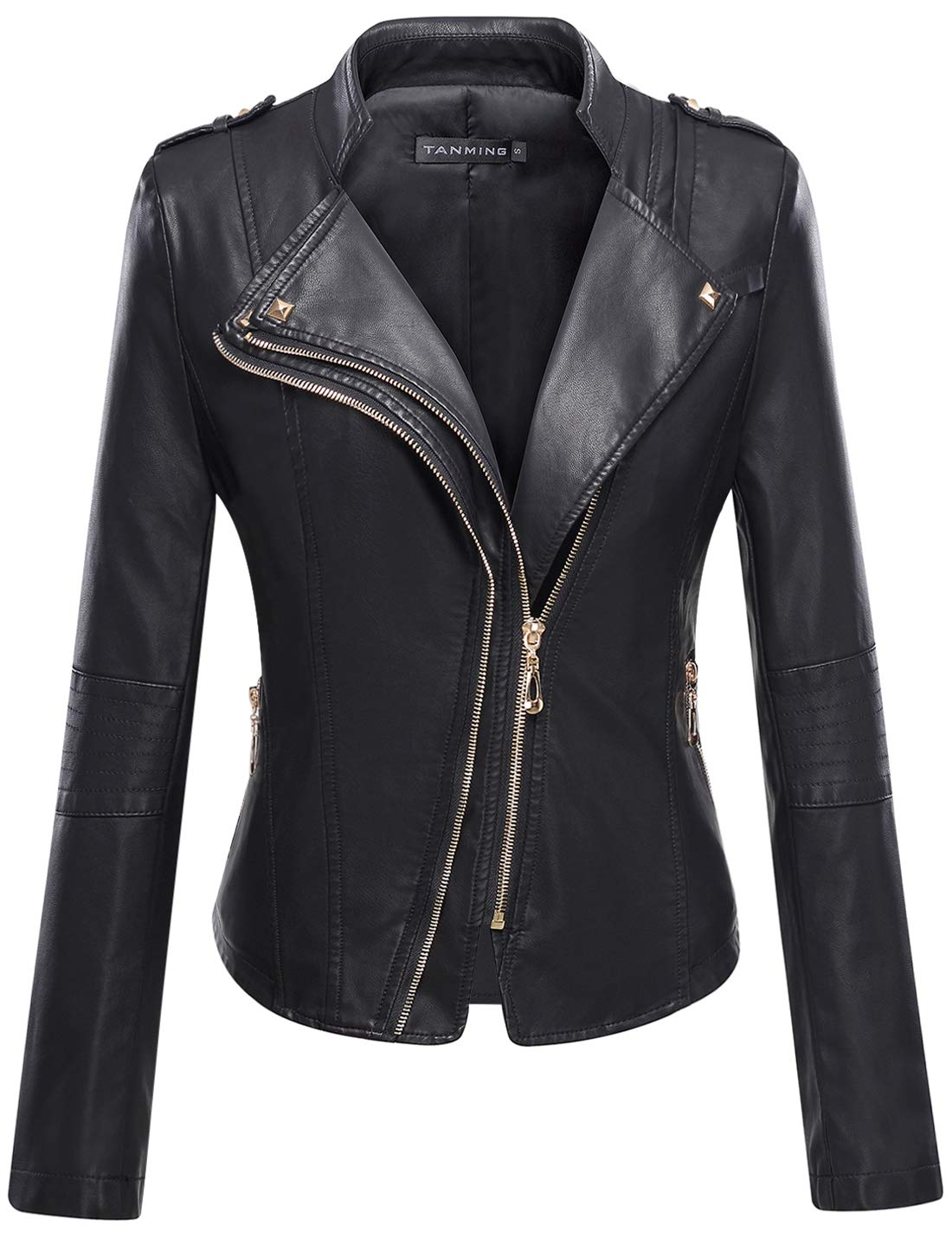Tanming Women's Slim Zipper Color Faux Leather Jacket Red (X-Large, Black)
