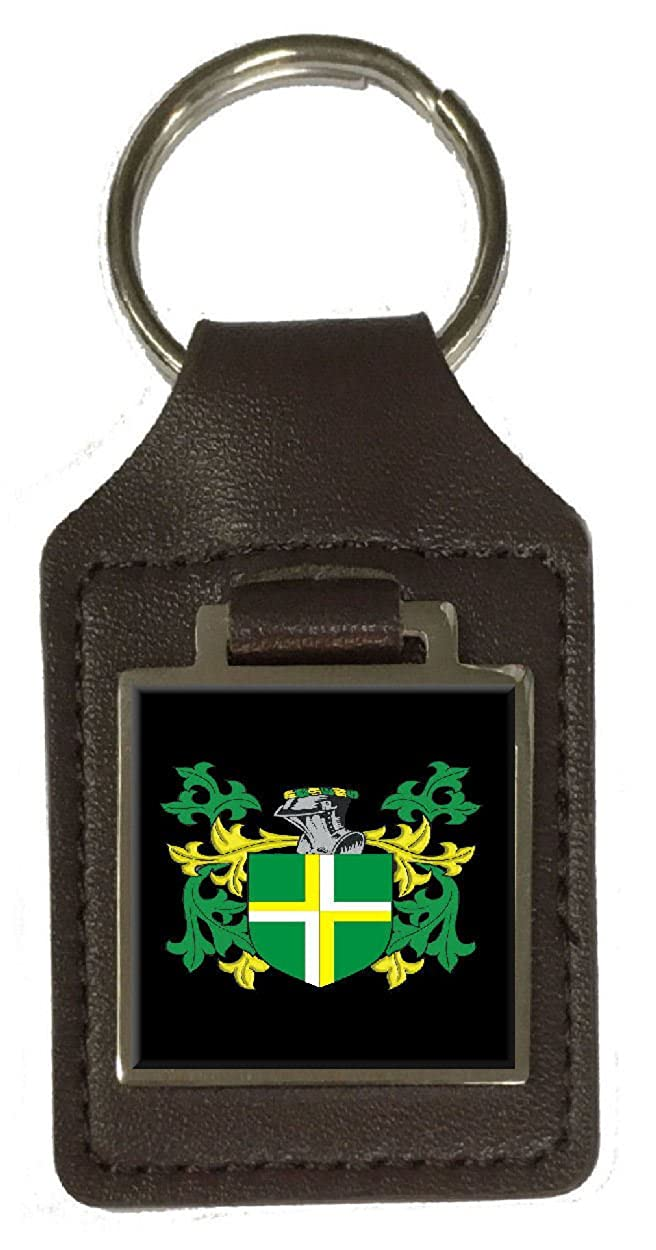 Meek Family Crest Surname Coat Of Arms Brown Leather Keyring Engraved