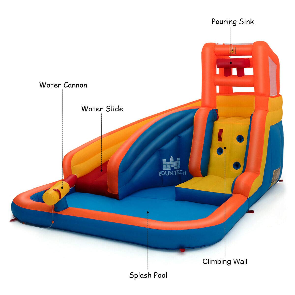 Heize Best Price Orange Inflatable Splash Water Bouncer Slide Bounce House w/ Climbing Wall & Water Hose Splash Pool(U.S. Stock) by Heize Best Price (Image #6)