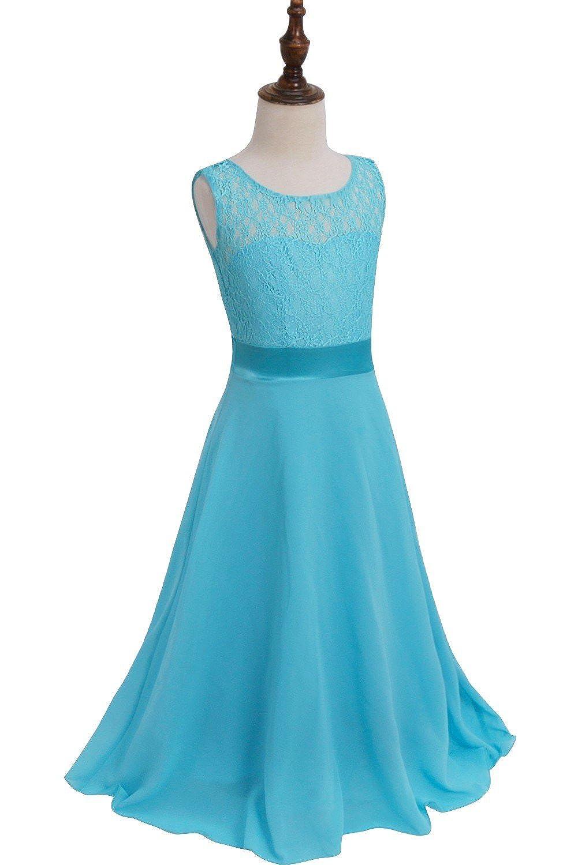 Amazon.com: iEFiEL Big Girls Lace Chiffon Bridesmaid Dress Dance ...
