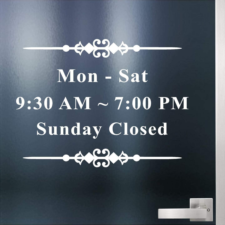 Jeyfel Decals. Custom Business Store Hours. Office Sign. Vinyl Die-Cut Sticker. Window Decal. Glass Door Sign.