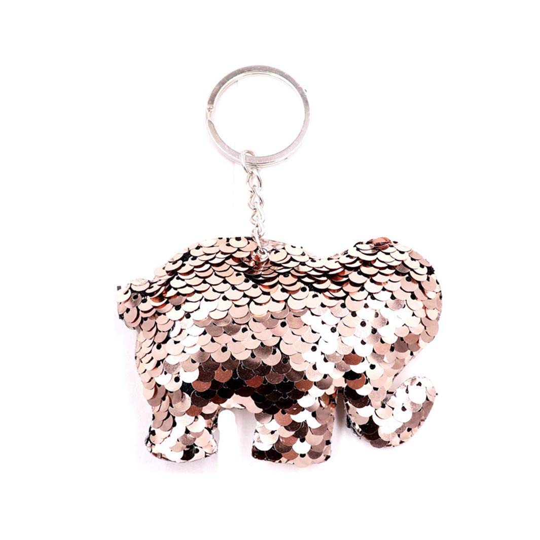 YouCY Cute Horse Sequin Keychain Double-Sided Colorful Animal Style Keychain Party Favors Party Supplies,Elephant pink