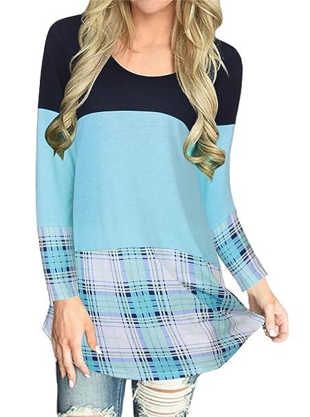 Sorrica Womens Women s Long Sleeve Color Block Tunic Shirts Dress Back Lace  Blouses With Plaid Hem b8ae4e880
