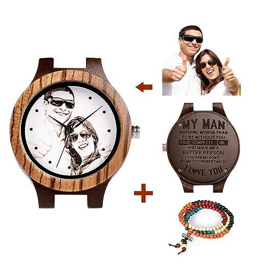 Reloj de Madera Personalizado para Hombre Foto Personalizada en la Cara del Reloj con Caja de Regalo de Madera Regalo Creativo: Amazon.es: Relojes