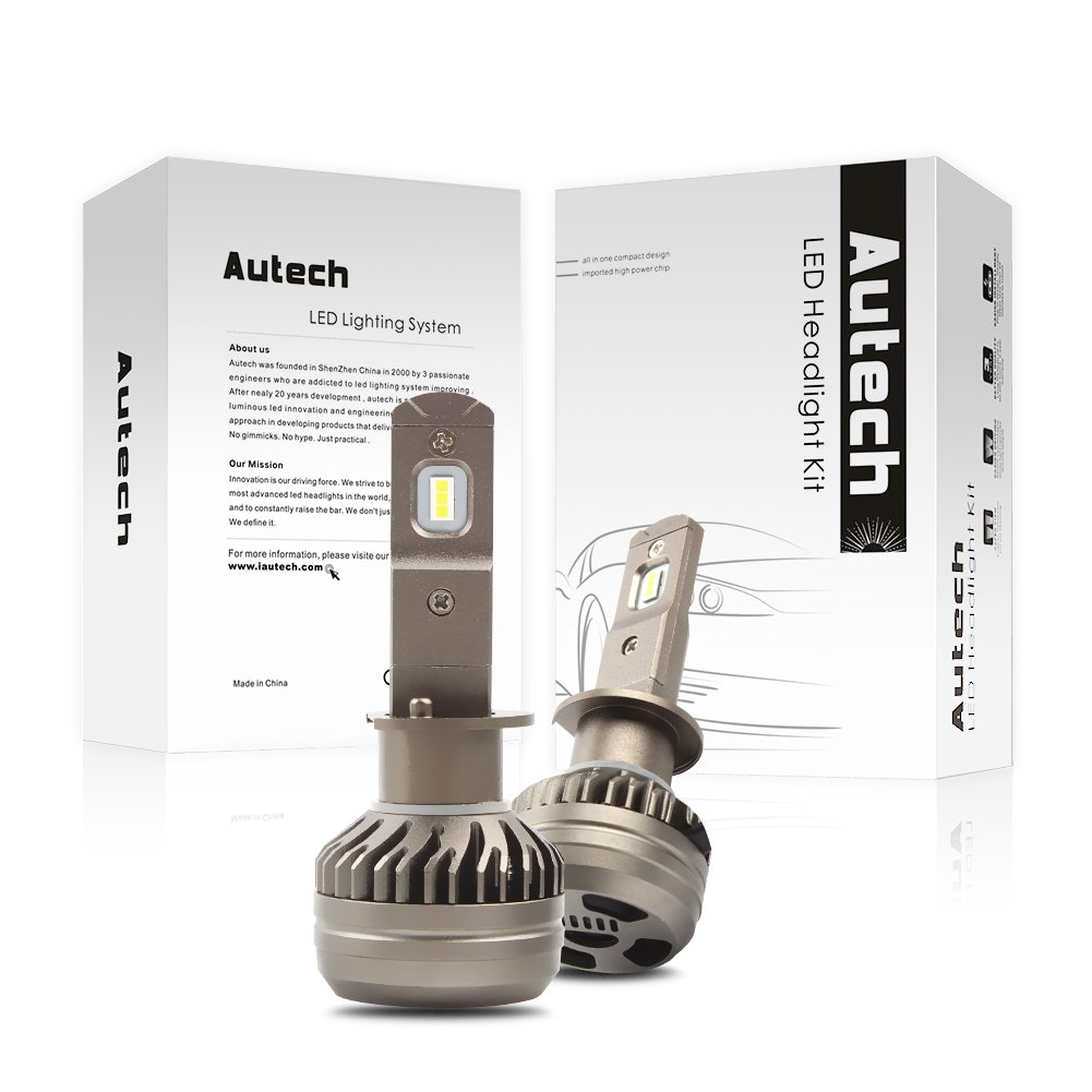 Autech H4 LED Headlight Bulbs LED Headlight Bulb Conversion Kit 50W 6500Lm 6000K Cool White 3-Year Warranty