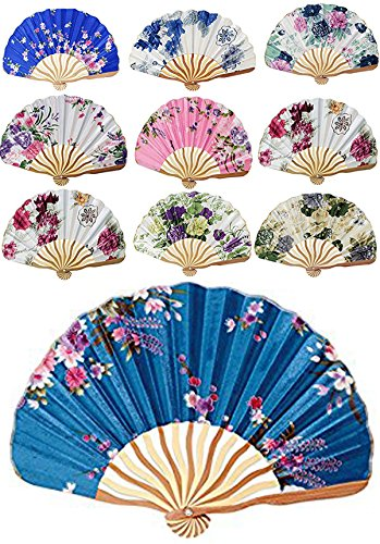 Chinese Japanese Nylon Lace Floral Folding Hand Fans Set of 10 (D13401) ~ We Pay Your Sales Tax -