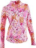 #9: IBKUL Ladies Whimsical Floral Long Sleeve Mock Pink X-Large