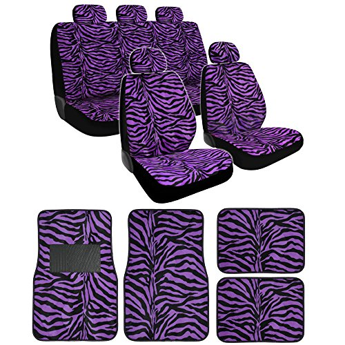 BDK Purple Zebra Seat Covers And Floor Mats Set Fur Print