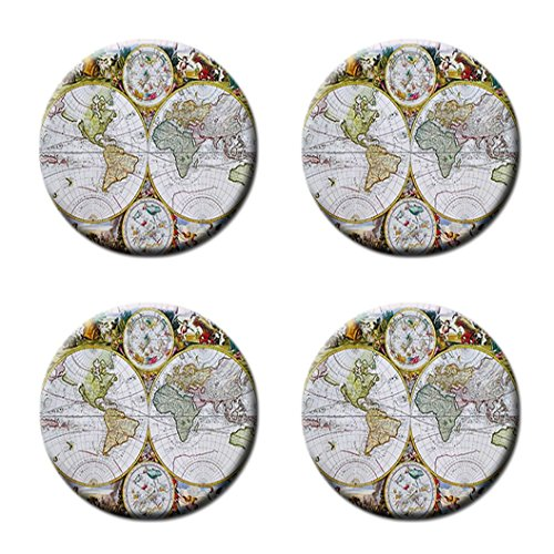 Antique World Map Custom Style Classic Cork Pad Mat-Round Coasters 4 Piece Set Cup Mat Mug Can Water Bottle Drink kichen house