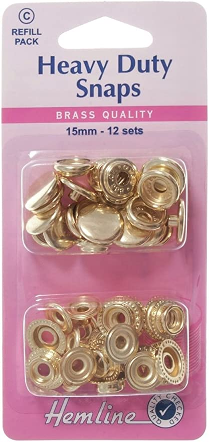 Hemline Heavy Duty Snaps Refill Pack 15mm 12 Sets Brass Quality BRONZE Colour