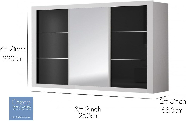 Checo Home and Garden Roma - Armario con puerta corredera de estilo moderno, 250 cm: Amazon.es: Hogar