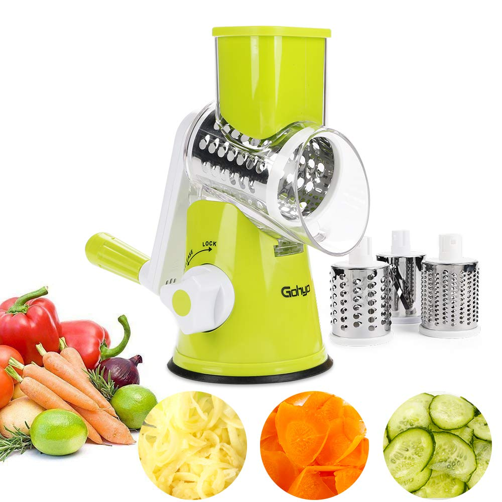 Cheese Grater - Mandoline Slicer for Potato, Tomato,Nuts, Manual Rotary Vegetable Chopper Shredder with 3 Round Stainless Steel Blades (Green)