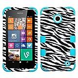 MyBat TUFF Hybrid Phone Protector Cover for Nokia Lumia 630 - Retail Packaging - Zebra Skin/Tropical Teal