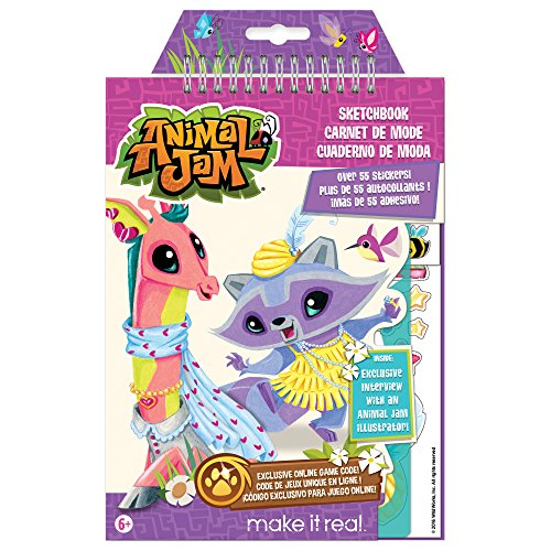 Make It Real - Animal Jam Sketchbook with Exclusive Masterpiece Token. Animal Jam Coloring Book for Kids. Includes Sketch Pages, Stencils, Stickers, Interview with Illustrator, and Online Game Token ()