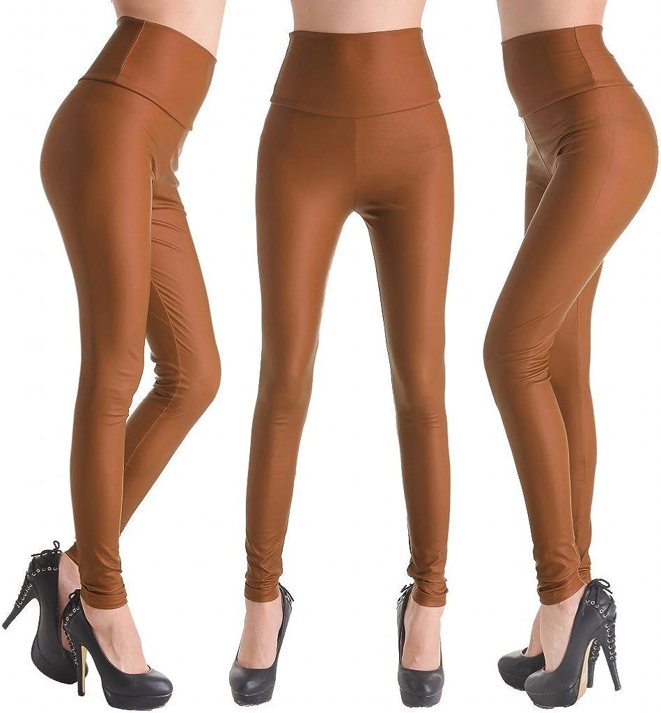 AooToo Womens High Waist Full Length Faux Leather Leggings