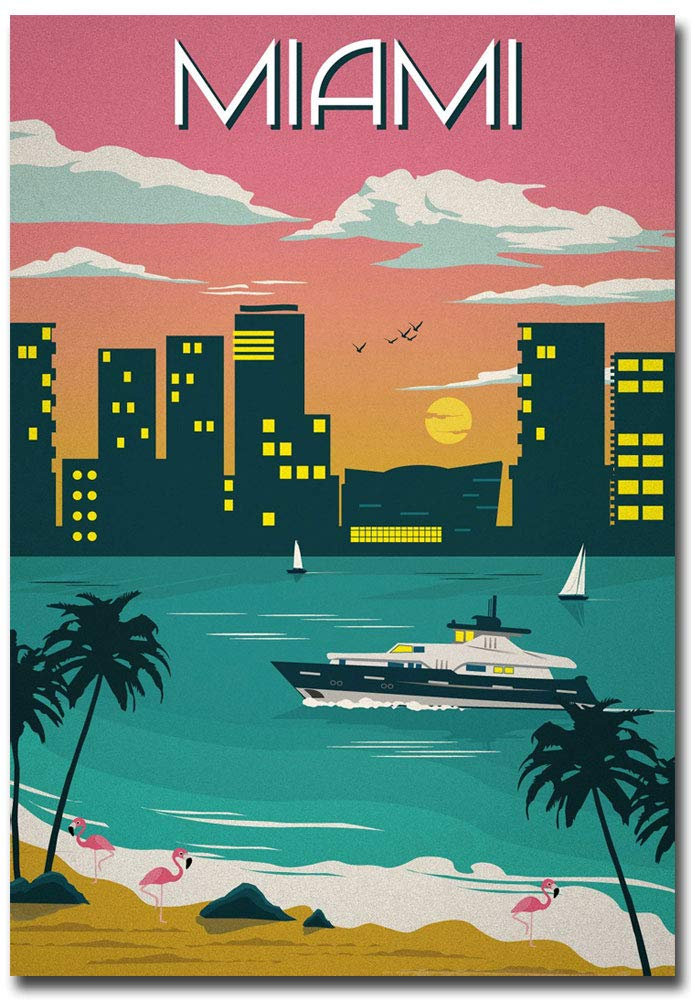 "Miami Travel Vintage Art Refrigerator Magnet Size 2.5"" x 3.5"""