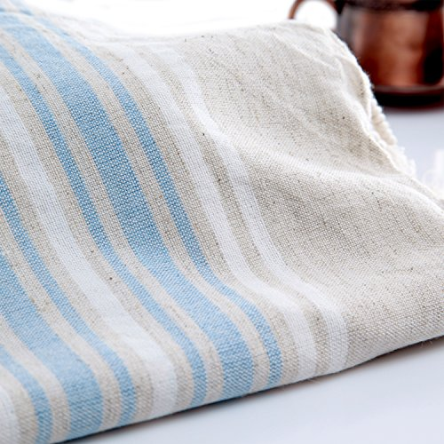 Hand Size Linen Turkish Towel Pestemal - Soft Blue and White Stripes on Natural Color . Turkish Hand Towel . Hair Pestemal .