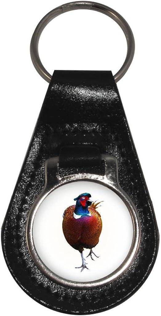 Pheasant Image Black Leather Keyring in Gift Box