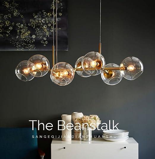 Lámpara Colgante de Techo, Araña Iluminación Pendiente Luz Interior Forma de Bola Cristal Altura Regulable de Metal con 8X3w LED Bombillas