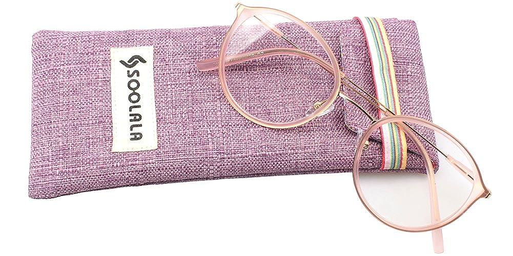 SOOLALA Unisex Vintage Inspired Round Circle Reading Glasses Customized Strengths 0) 6-01-320A-Black-0