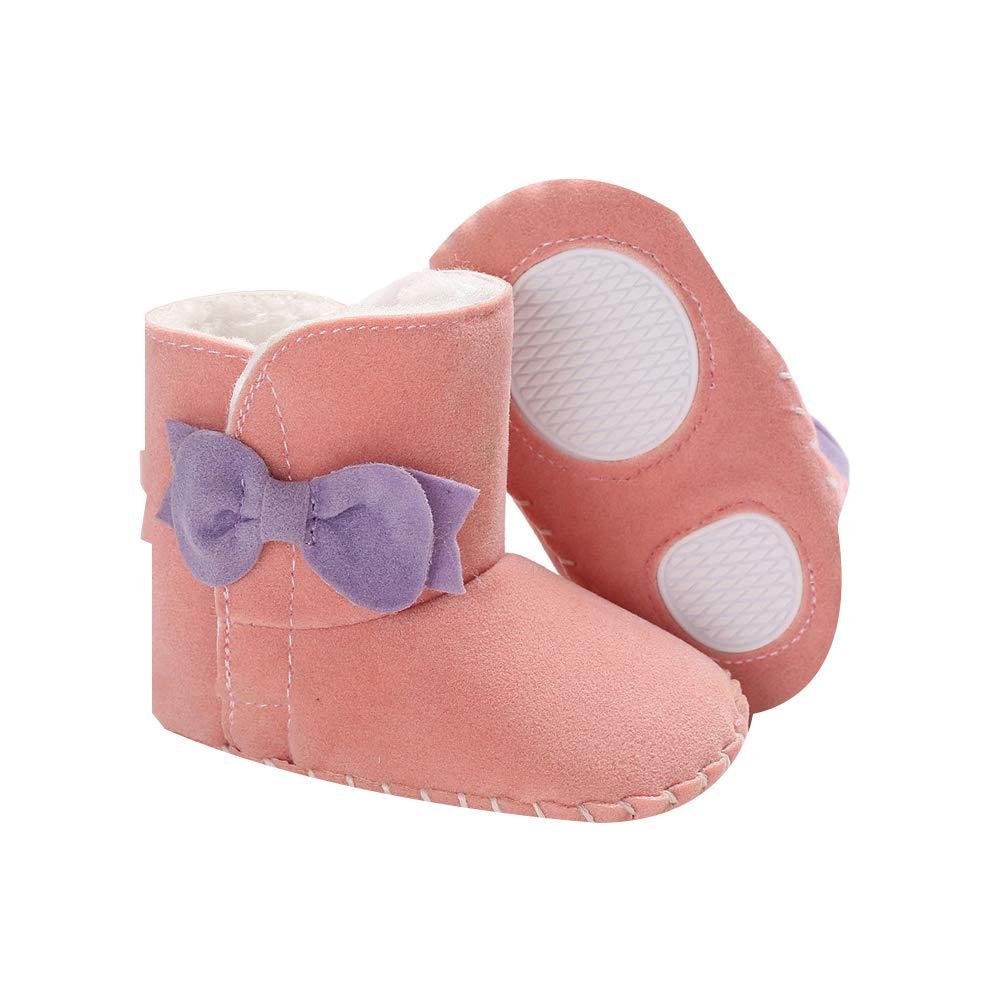 Brown 11cm Alamana Fashion Bowknot Warm Newborn Baby Infant Soft Anti-Slip Prewalker Toddler Shoes